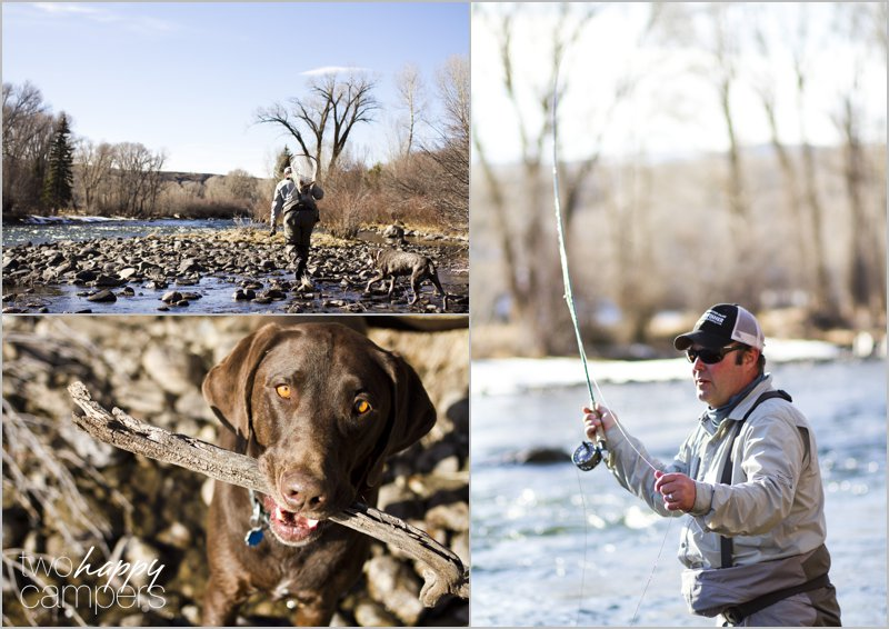 One brown trout, two happy dogs and a fishing net full of beer